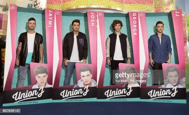 Union J members Jaymi Hensley Josh Cuthbert George Shelley and JJ Hamblett launch their dolls during the press day for the annual Toy Fair where more...