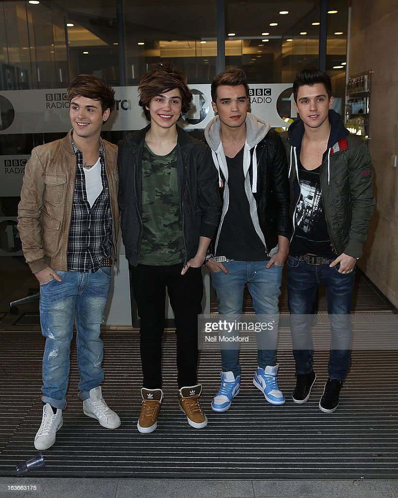 Union J seen at BBC Radio One as part of their Comic Relief Day on March 14, 2013 in London, England.