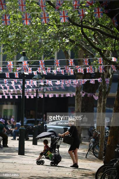 Union Jack bunting hangs over Sloane Square on May 29 2012 in London England The capital is preparing to hold four days of celebrations over the...