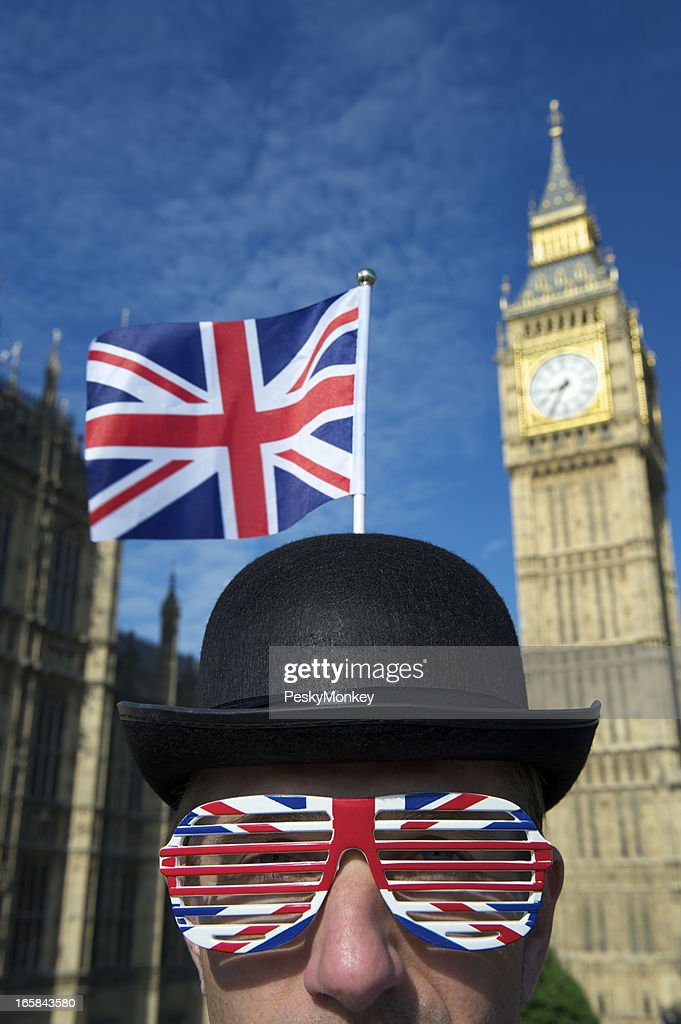 Union Jack Flag and Glasses Decorate Bowler Hat Man London