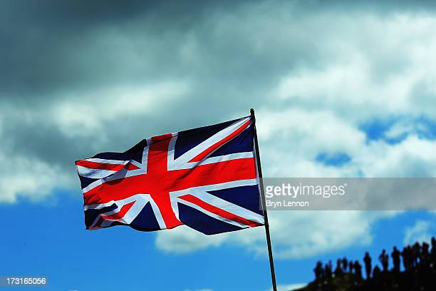 Union Jack flag flies high during stage eight of the 2013 Tour de France a 195KM road stage from Castres to Ax 3 Domaines on July 6 2013 in Ax 3...