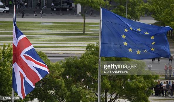 'Union Jack' flag of the United Kingdom and flag of European Union are pictured on May 29 in front of the Chancellery in Berlin Germany prior to a...
