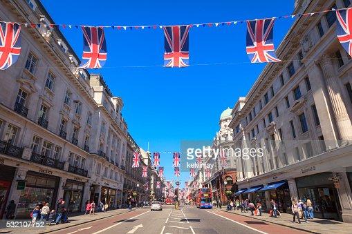 Union Jack flags flying on Regent Street in London