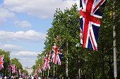 Union Jack flags line street