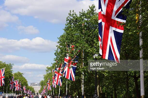 Union Jack flags line street