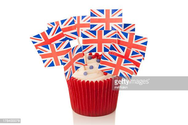Union Jack flags on cup cake