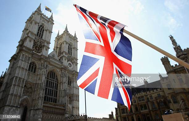 Union Jack flies outside Westminster Abbey on April 27 2011 in London England With only two days to go before the Royal Wedding security checks and...