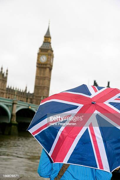 Union Jack umbrella, Big Ben, London