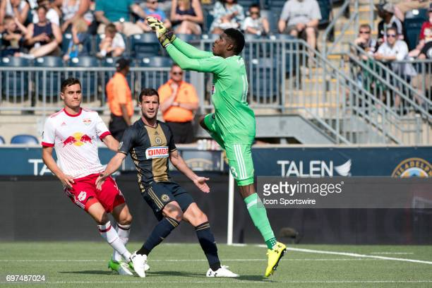 Union Keeper Andre Blake leaps to catch the ball in the first half during the game between the New York Red Bulls and Philadelphia Union on June 18...