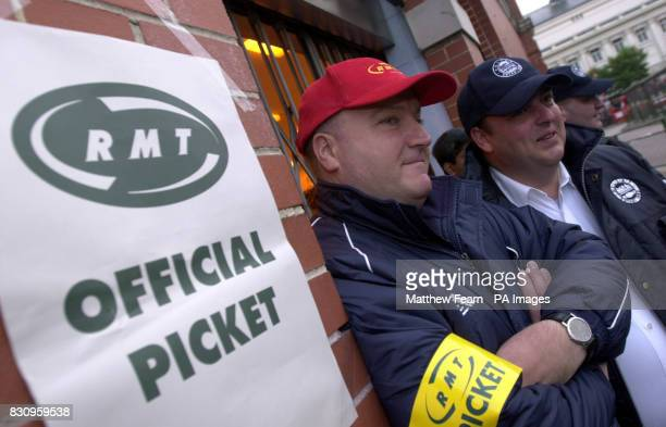 RMT union leader Bob Crow and ASLEF union leader Mick Rix stand on a picket line at Golders Green underground station in London Thousands of...