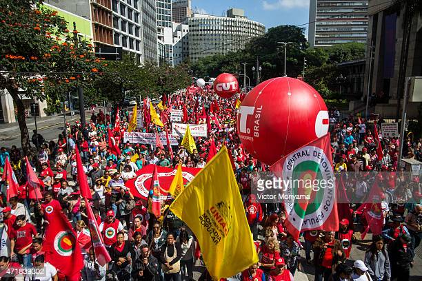 Union members celebrate May Day at the ''Vale do Anhangabau'' on May 1 2015 in Sao Paulo Brazil Labor Day celebrations were attended by former...