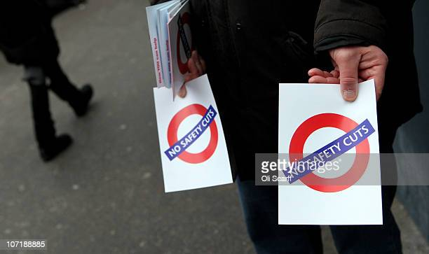 Union members hand out leaflets in Victoria Station as workers on the London Underground stage a fourth 24 hour strike on November 29 2010 in London...