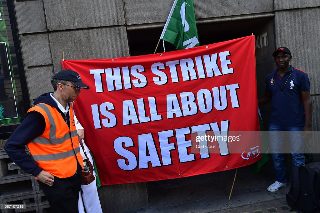 Union members man a picket line at Victoria station on August 8 2016 in London England Hundreds of thousands of Southern rail passengers face a week...