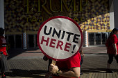 Union members on strike demonstrate outside of the Trump Taj Mahal Casino before a campaign event for Hillary Clinton presumptive 2016 Democratic...