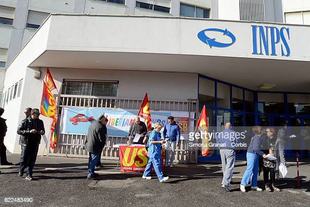 USB union members protest at the INPS Rome office in Casilino Via Longoni and sign a petition for citizenship addressed to the Government and...