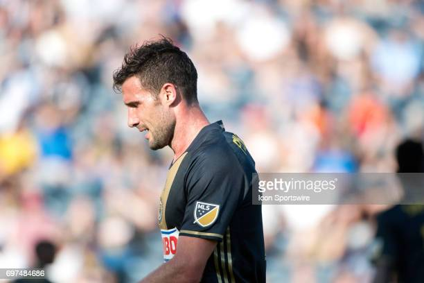 Union MF Chris Pontius moves to a new position on the field in the second half during the game between the New York Red Bulls and Philadelphia Union...