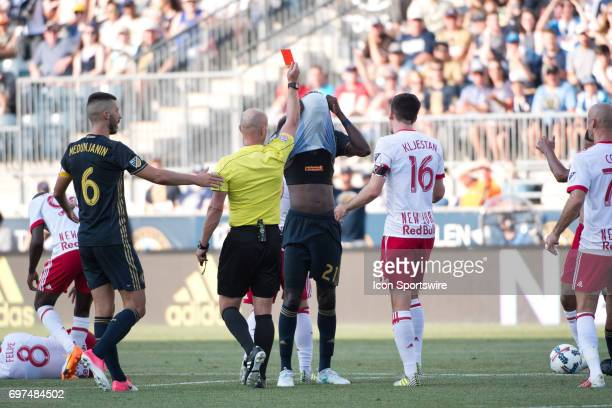 Union MF Derrick Jones reacts to being shown a red card in the second half during the game between the New York Red Bulls and Philadelphia Union on...