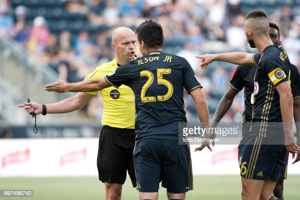 Union MF Ilsinho argues with referee Allen Chapman after a call in the first half during the game between the New York Red Bulls and Philadelphia...
