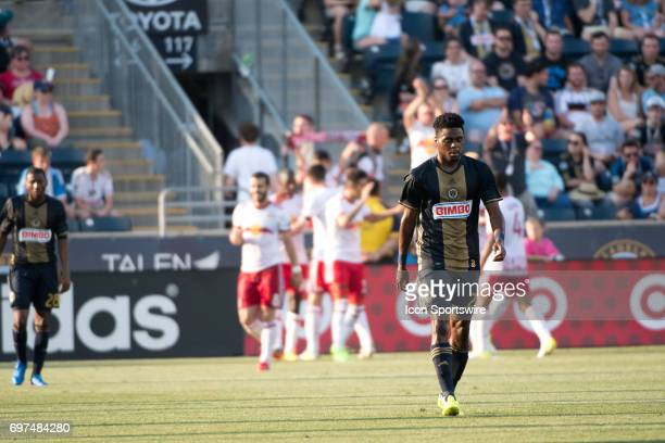 Union MF Marcus Epps returns to his half after a Red Bulls goal in the second half during the game between the New York Red Bulls and Philadelphia...