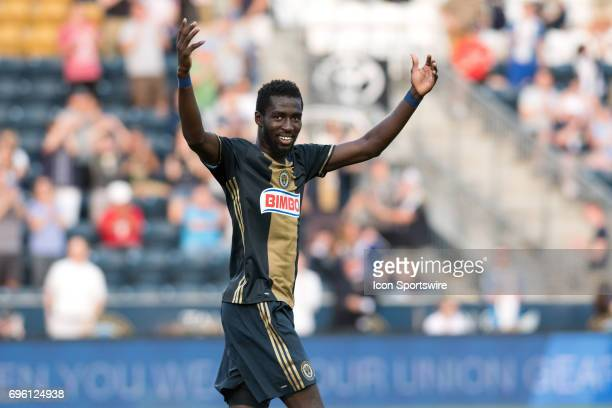 Union Midfielder Derrick Jones celebrates a goal in the first half during the US Open Cup Game between the Harrisburg City Islanders and the...