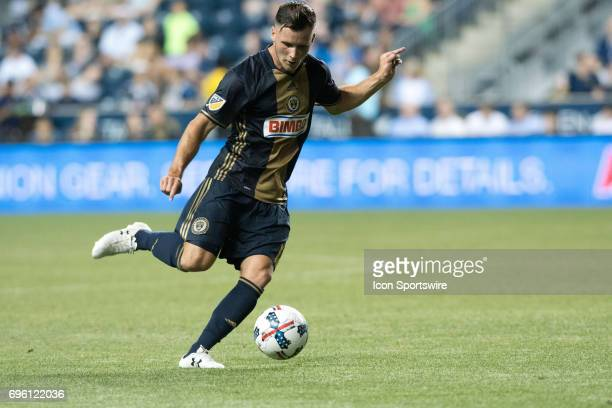 Union Midfielder Keegan Rosenberry makes a pass in the second half during the US Open Cup Game between the Harrisburg City Islanders and the...