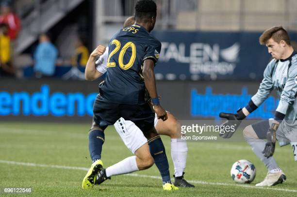 Union Midfielder Marcus Epps scores a goal in the second half during the US Open Cup Game between the Harrisburg City Islanders and the Philadelphia...