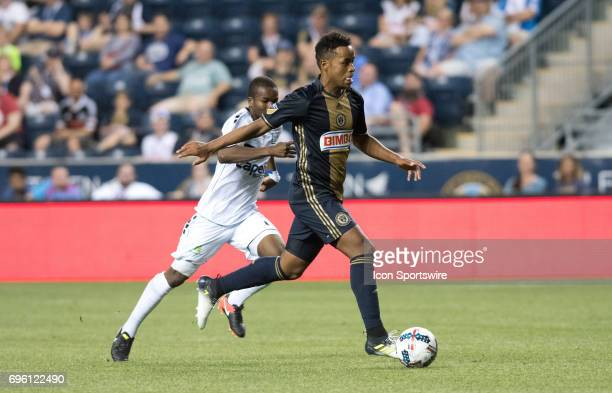 Union Midfielder Roland Alberg carries the ball in the second half during the US Open Cup Game between the Harrisburg City Islanders and the...