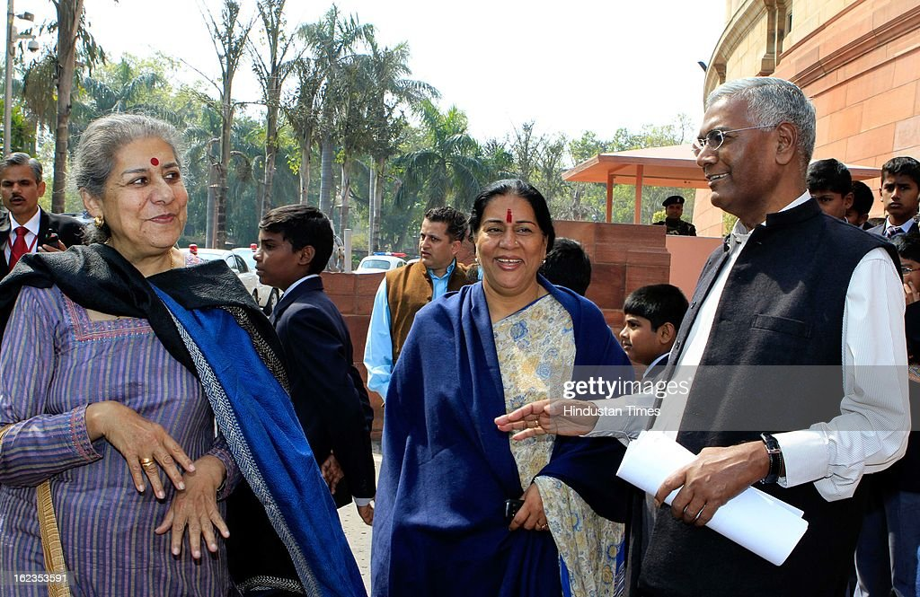 Union Minister Ambika Soni (L), Mahila Congress President Prabha Thakur (C) and CPI leader D Raja at Parliament during the budget session, on February 22, 2013 in New Delhi, India. The Hyderabad twin blasts issue rocked parliament as the opposition parties attacked the government after Home Minister Shinde said there were prior intelligence reports about the blasts.