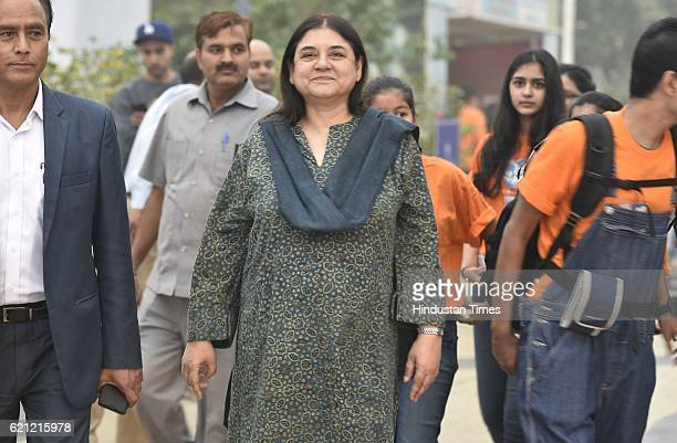 Union Minister and animal rights activist Menka Gandhi during the Retired Military Dogs adoption Show Organized by People for Animals in...
