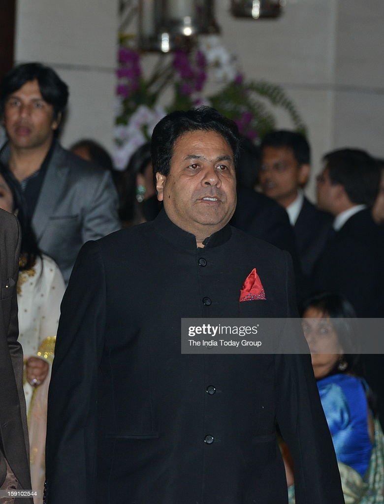 Union Minister and Congress leader Rajiv Shukla at Dhirubhai Ambani's granddaughter Nayantara's engagement party, hosted by Mukesh Ambani and Nita Ambani at Antilla in Mumbai on Saturday, January 5, 2013.