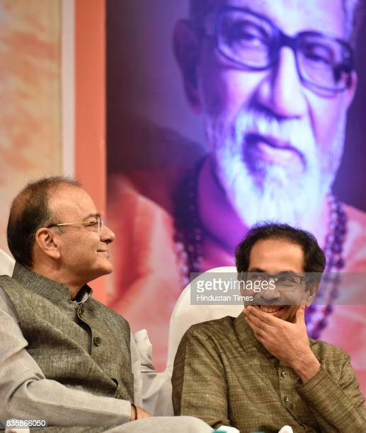 Union Minister Arun Jaitley and Shiv Sena Chief Uddhav Thackeray during the release of a compilation of a hundred interviews of Bal Thackeray in the...
