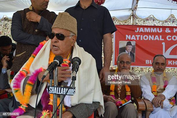 Union Minister Farooq Abdullah along with party senior leaders during an election rally at Khanyar on April 27 2014 in Srinagar India During a rally...