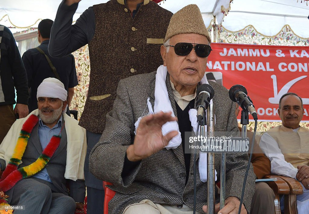 Union Minister <a gi-track='captionPersonalityLinkClicked' href=/galleries/search?phrase=Farooq+Abdullah&family=editorial&specificpeople=2291127 ng-click='$event.stopPropagation()'>Farooq Abdullah</a> along with party senior leaders during an election rally at Khanyar on April 27, 2014 in Srinagar, India. During a rally, fourteen people were injured in an explosion near the venue of an election rally. This was the second such explosion during the day to disrupt the Srinagar Lok Sabha candidate's rally.