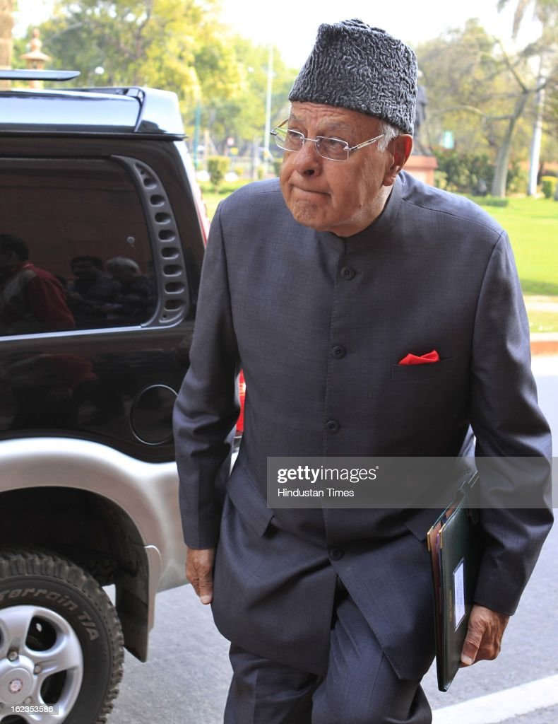 Union Minister Farooq Abdullah at Parliament during the budget session, on February 22, 2013 in New Delhi, India. The Hyderabad twin blasts issue rocked parliament as the opposition parties attacked the government after Home Minister Shinde said there were prior intelligence reports about the blasts.