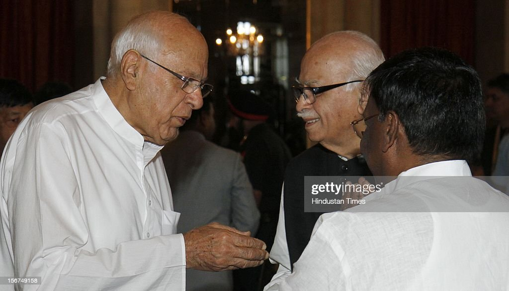 'NEW DELHI, INDIA - SEPTEMBER 29: Union Minister Farooq Abdullah (L) with BJP leader L K Advani during the swearing in ceremony of Justice Altamas Kabir as the 39th Chief Justice of India at Rashtrapati Bhavan on September 29, 2012 in New Delhi, India. (Photo by Mohd Zakir/Hindustan Times via Getty Images)'