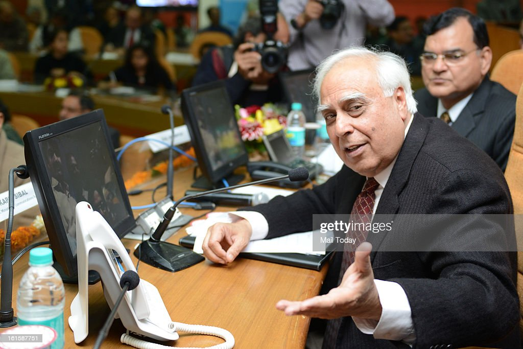Union Minister For Communications and IT Kapil Sibal launch Video Telephony Service of BSNL in New Delhi on Monday. also seen in picture BSNL CMD RK Upadhyay.