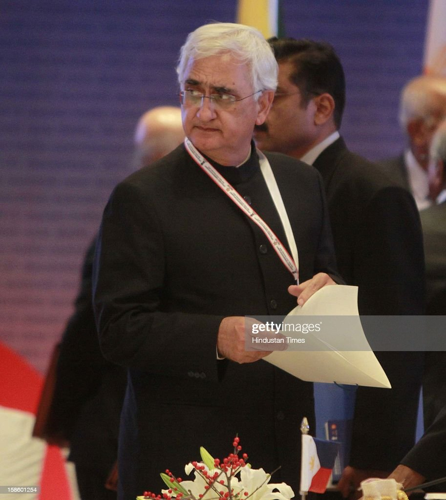 Union Minister for External Affairs Salman Khurshid during the plenary session of the ASEAN-India Commemorative Summit on December 20, 2012 in New Delhi, India. The free trade agreement in services and investment between India and 10 ASEAN countries was finalised after intense negotiations. It would create one of the world's biggest free trade areas with a market of around 1.8 billion people and a combined gross domestic product of $2.8 trillion.