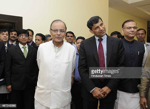 Union Minister for Finance Corporate Affairs and Information Broadcasting Arun Jaitley Minister of State for Finance Jayant Sinha Governor of Reserve...