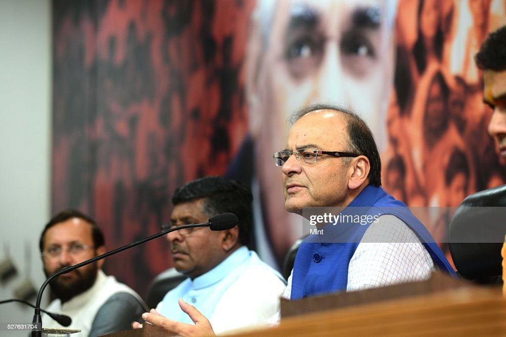 Union Minister for Finance, Corporate Affairs and Information & Broadcasting Arun Jaitley addressing the media at BJP office on August 13, 2015 in New Delhi, India.