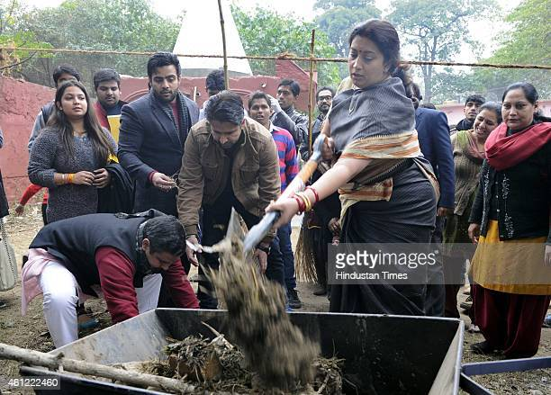 Union Minister for Human Resource Development Smriti Irani participating in Swachh Bharat Abhiyan organized by ABVP DUSU at Sanjay Basti Timarpur on...
