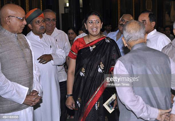 Union Minister for Human Resource Development Smriti Irani talking with other BJP leaders during the function to pay tributes to freedom fighter Veer...