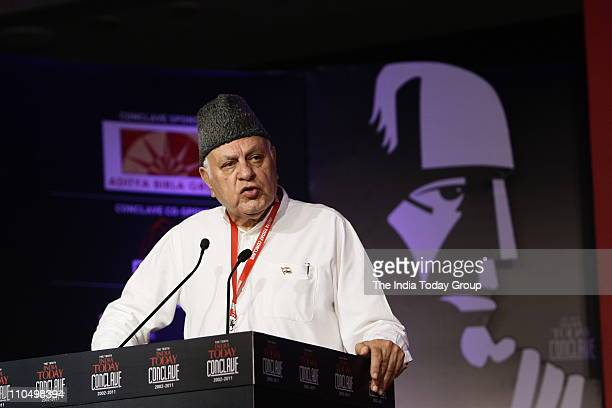 Union Minister for New and Renewable Energy Dr Farooq Abdullah addresses the session 'Kashmir What next' at the 10th India Today Conclave in New...