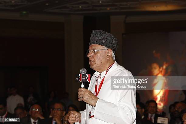 Union Minister for New and Renewable Energy Farooq Abdullah makes a point during the QA interaction