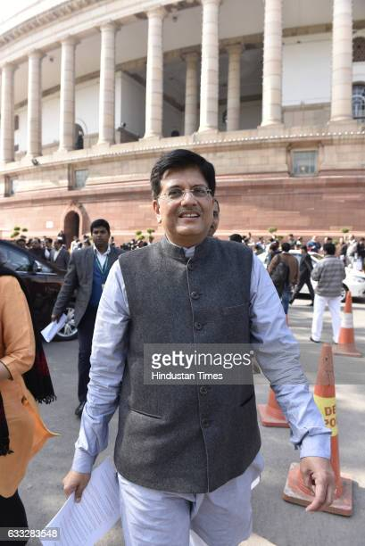 Union Minister for Power Piyush Goyal at Parliament ahead of the General Budget 2017 presentation on February 1 2017 in New Delhi India In the Union...
