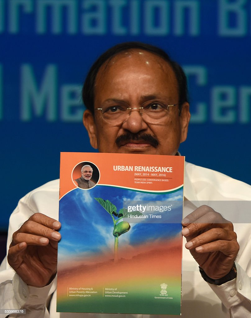 Union Minister for Urban Development Venkaiah Naidu announcing the next batch of smart cities on May 24, 2016 in New Delhi, India. The government today named 13 more cities that will be developed under Prime Minister Narendra Modis Smart City Mission. 20 cities were selected in the first round in January. PM Modi has vowed to create 100 new smart cities by 2022.
