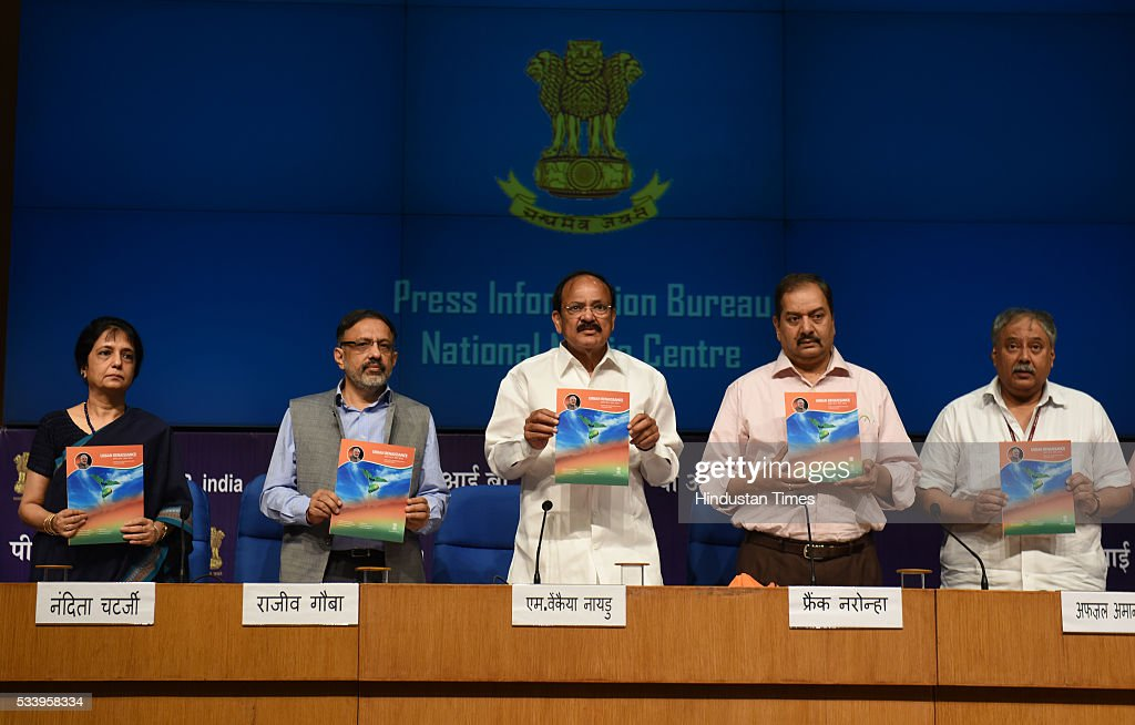 Union Minister for Urban Development Venkaiah Naidu flanked by Nandita Chaterjee Ministry of Housing & Urban Poverty Alleviation, Rajiv Gauba Secretary, Ministry of Urban Development, Frank Noronha Principal Spokesperson GOI and Parliamentary affairs secretary Afzal Amanullah announcing the next batch of smart cities on May 24, 2016 in New Delhi, India. The government today named 13 more cities that will be developed under Prime Minister Narendra Modis Smart City Mission. 20 cities were selected in the first round in January. PM Modi has vowed to create 100 new smart cities by 2022.