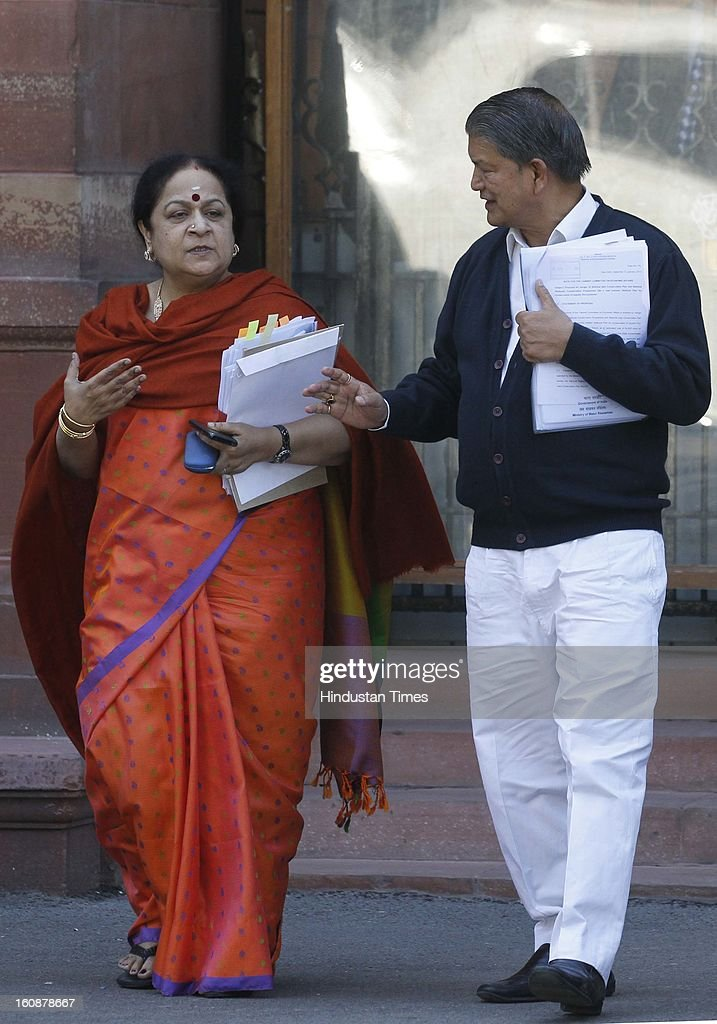 Union Minister for Water Resources, Harish Rawat and Environment Minister Jayanthi Natarajan after a Cabinet meeting at South Block on February 7, 2013 in New Delhi, India.