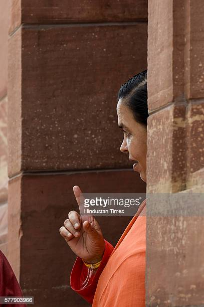 Union Minister for Water Resources Uma Bharti during the Monsoon Session at Parliament House Annexe ion July 19 2016 in New Delhi India