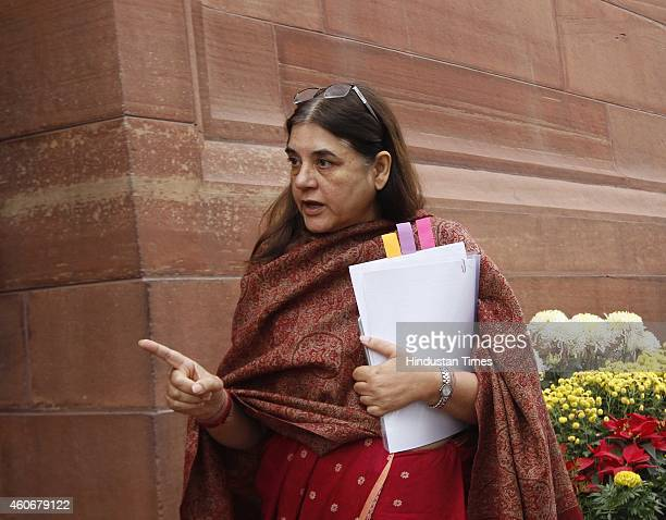 Union Minister for Women and Child Development Maneka Gandhi at Parliament House on December 19 2014 in New Delhi India Progress on key bills such as...