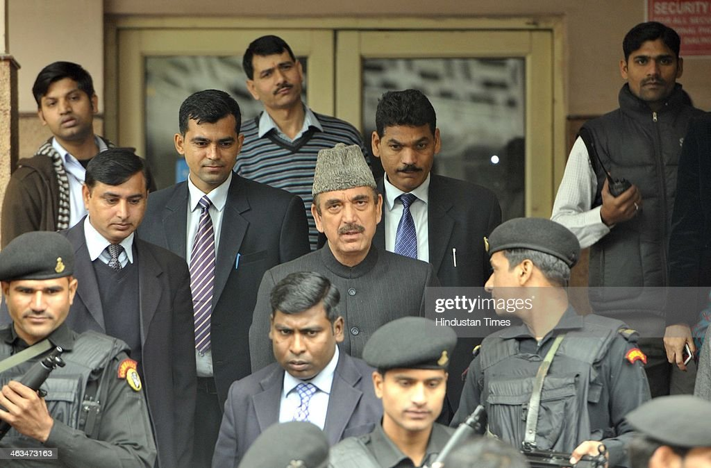Union Minister <a gi-track='captionPersonalityLinkClicked' href=/galleries/search?phrase=Ghulam+Nabi+Azad&family=editorial&specificpeople=772783 ng-click='$event.stopPropagation()'>Ghulam Nabi Azad</a> coming out after meeting Congress leader Shashi Tharoor from the cardiac Department at All India Institute of Medical Science on January 18, 2014 in New Delhi, India. Tharoor was admitted to AIIMS for a cardiac condition, hours after he found his wife dead in a hotel room, and was discharged in the afternoon. Sunanda Pushkar, the 52-year-old industrialist wife of Union HRD minister Shashi Tharoor was found dead on Friday at a seven-star hotel where the couple had checked in together a day earlier, the police said. News of her death emerged late in the evening, coming within two days of her Twitter spat with a Pakistani journalist, Mehr Tarar, over an alleged affair with the minister.